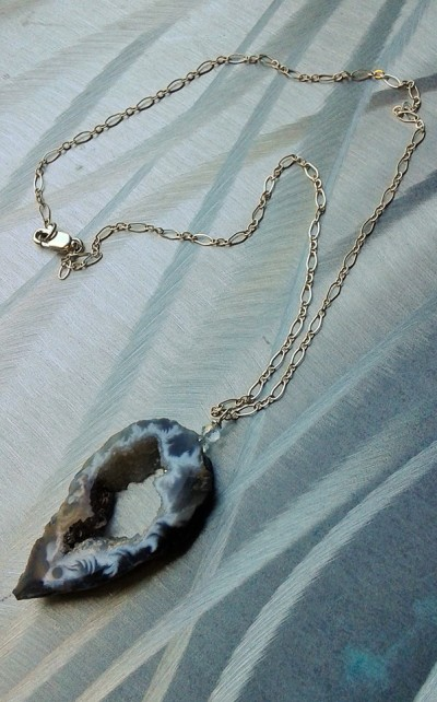 geode slice necklace